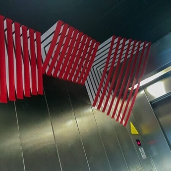 Abstract 3d design in elevator- side view