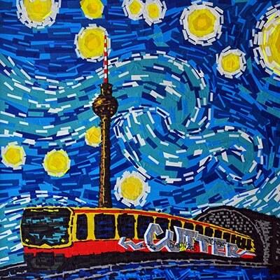 Berlin Starry Night-Van Gogh-tape-art by Ostap-2014-featured image
