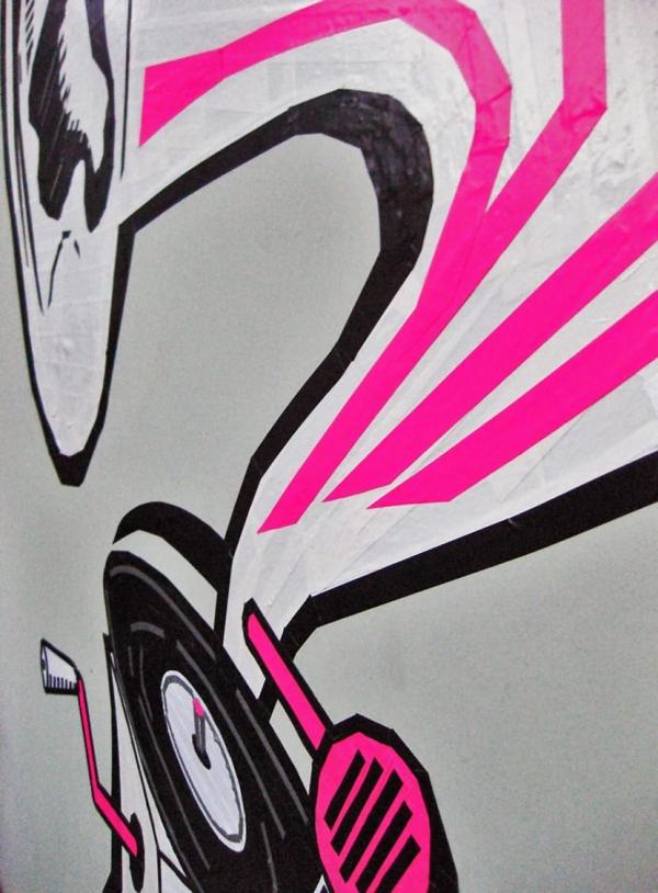 DJ Deaf- Duct tape Graffiti piece by Ostap- closeup