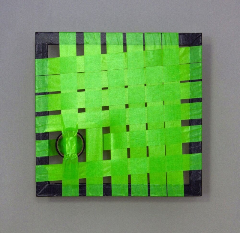 Green-abstract woven duct tape art- Ostap 2013