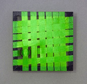 Green Construction- woven abstract duct tape art- Featured image