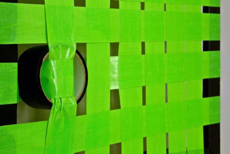 Green Construction- woven tape artwork- Closeup