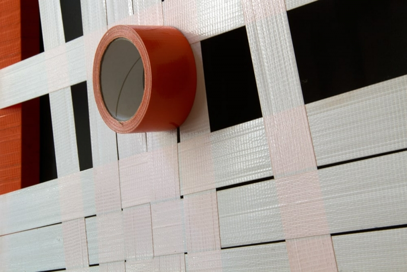 Orange Struktur-Abstraktes Gewebtes Tape-Art- Künstler Ostap 2012- Nahaufnahme