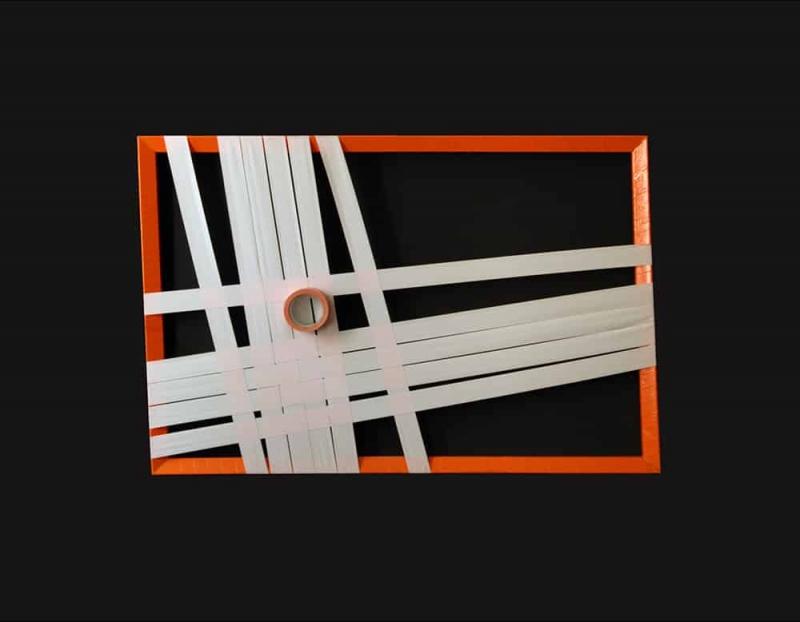 Orange Struktur-Abstraktes Gewebtes Tape-Art- Künstler Ostap 2012