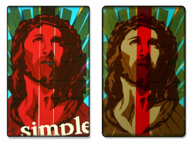 Simply-Pop-Icon-packing-tape-art-diptych-Ostap-2013