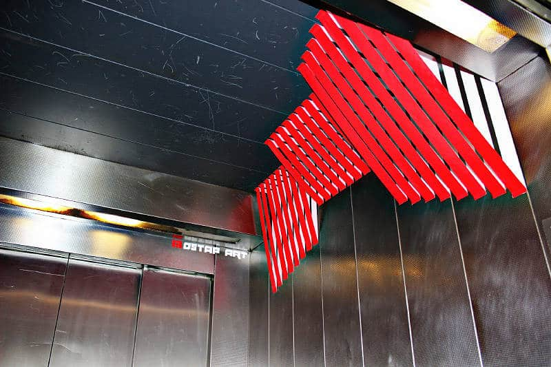 Parallel Lines- Abstract 3d duct tape installation in elevator