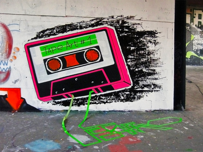 """Tape by Tape""-mixed media graffiti mural by Ostap- Street Art Festival Teufelsberg 2012"