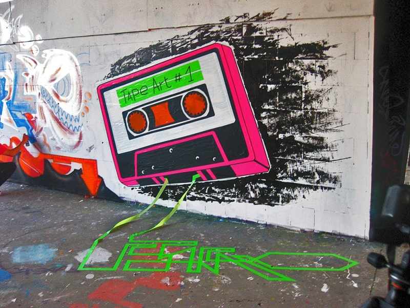Tape Cassette- Mixed media graffiti- street art festival at Berlin-Teufelsberg-2012