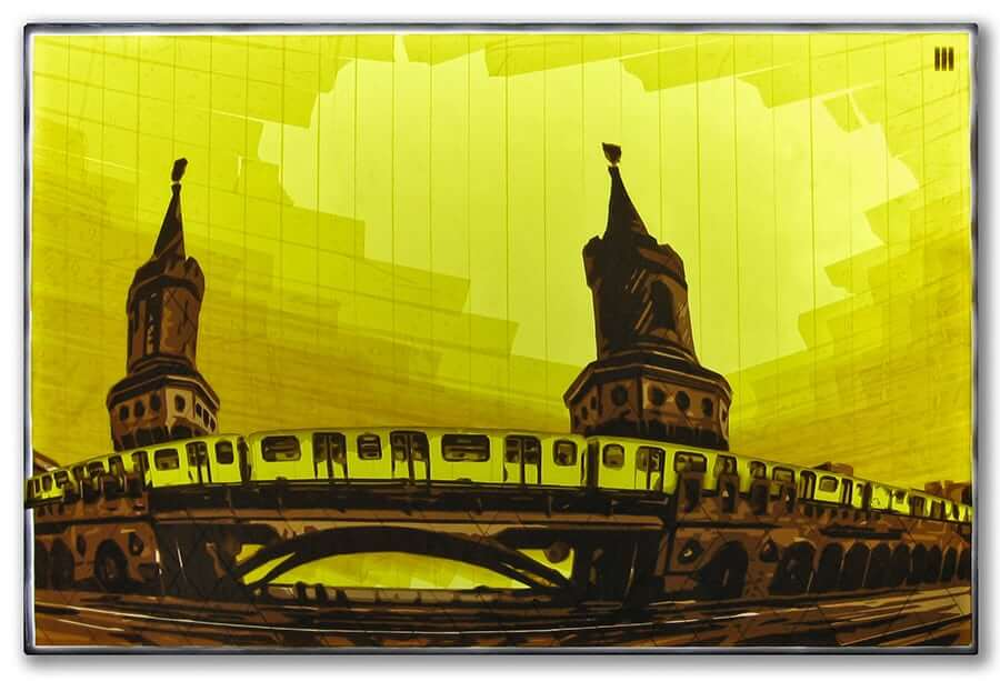 U1-Oberbaumbruecke-Berlin-packing tape art-Ostap-Artist-2015