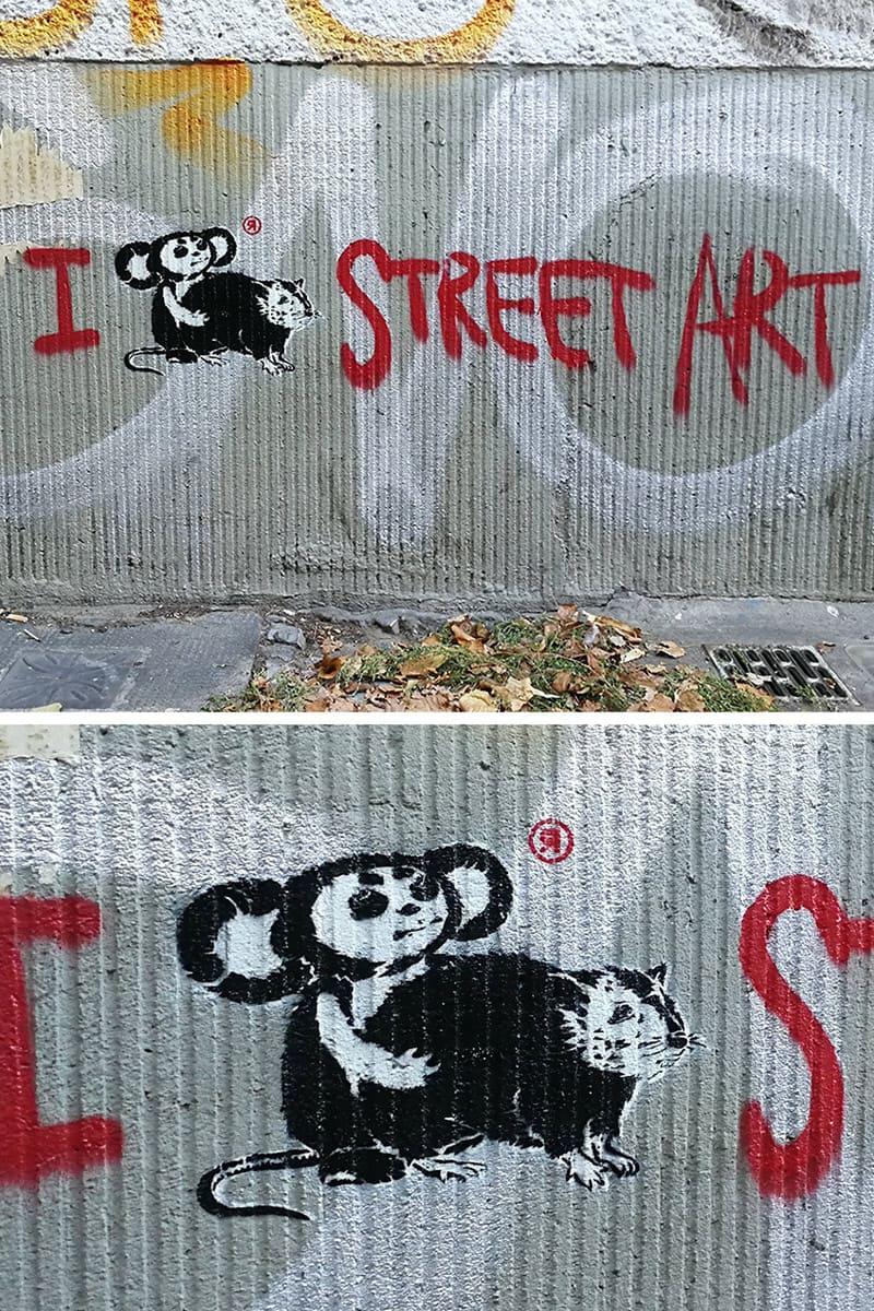 Loving Street Art (Tscheburaschka mit Ratte)- Schablonen Graffiti in Neuköln