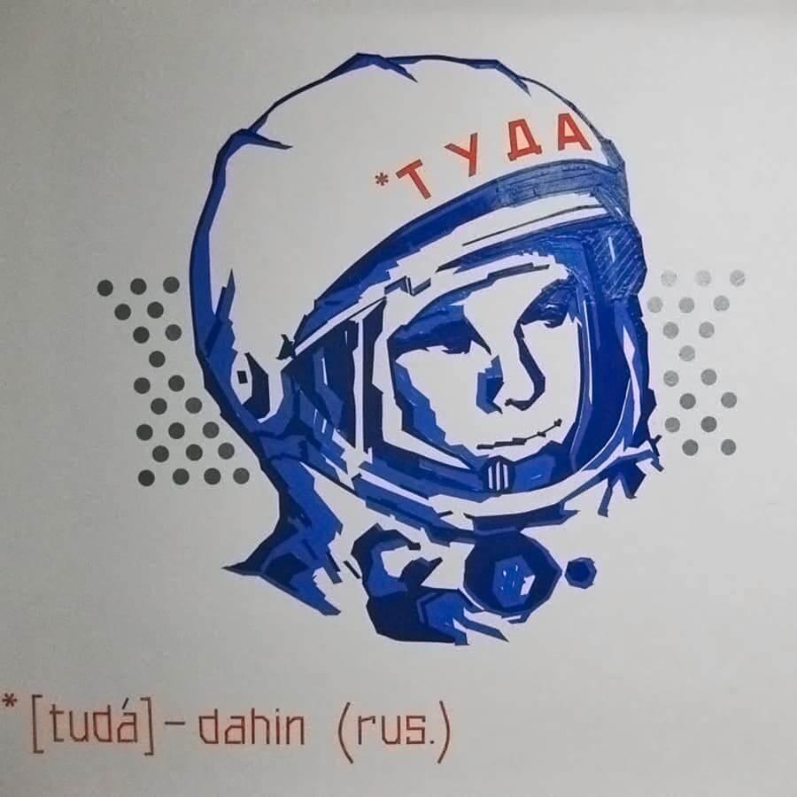 Juri Gagarin Porträt- Wandmalerei mit Klebeband