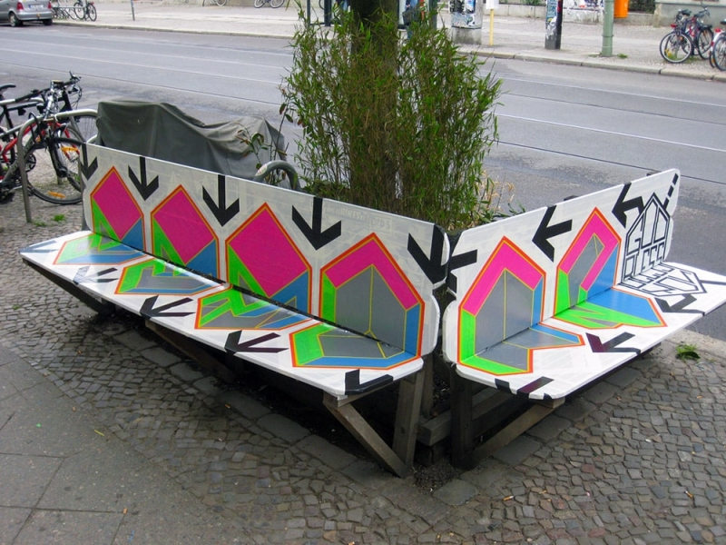 god bless you Berlin- duct-tape-street-art-bench-Ostap-2012