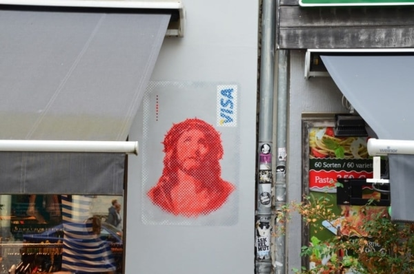 Jesus Visa Card- Stencil graffiti by Ostap at Berlin Kastanienallee, 2013