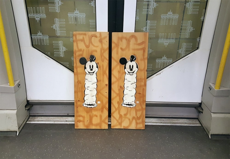 Image 2- Stencil graffiti art- Loving Mickey Mouse- diptych by Ostap