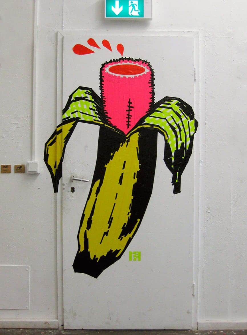 Banana- Duct Tape Wall Art by Ost_Up at the Neurotitan Gallery- Close-up image