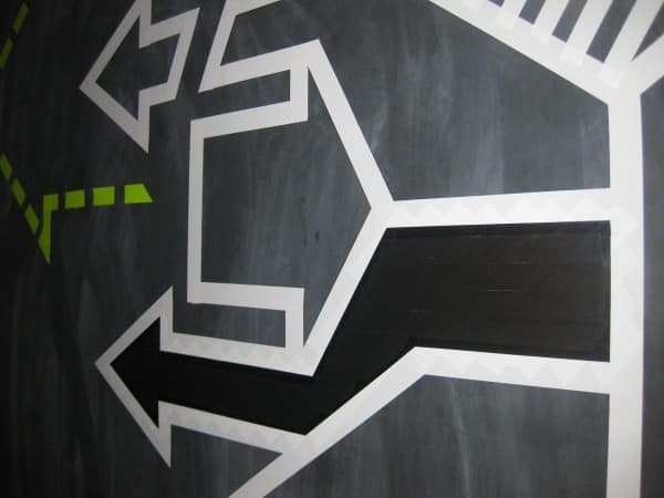 Arrows- abstract duct tape graffiti- closeup