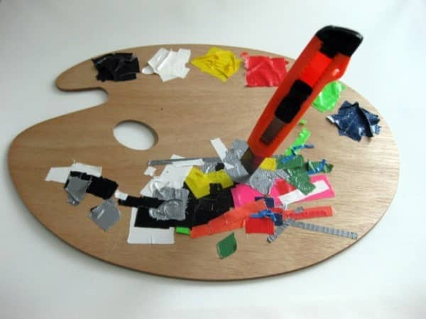 Wooden paint mixing palette of a tape artist, 2012