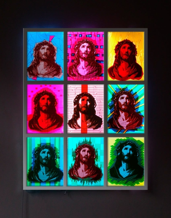 "Finished packing tape art ""OMG"" - 9 Jesus portraits"