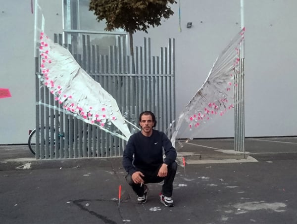 The wings- 3D street art made of adhesive tape - The result of the workshop