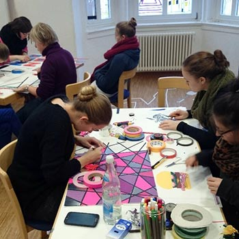 Tape art workshop for children in a school