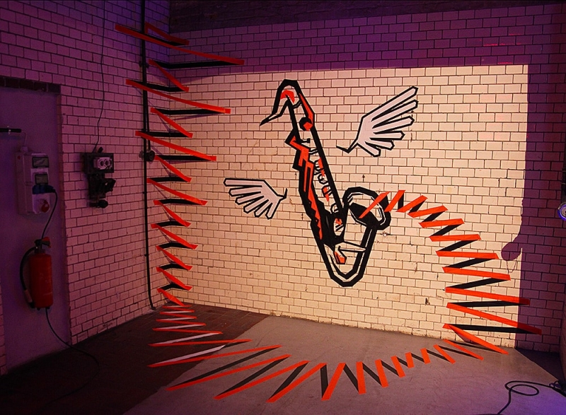 the sound-3d tape graffiti- Ostap artist-commission RBC Bank-2014