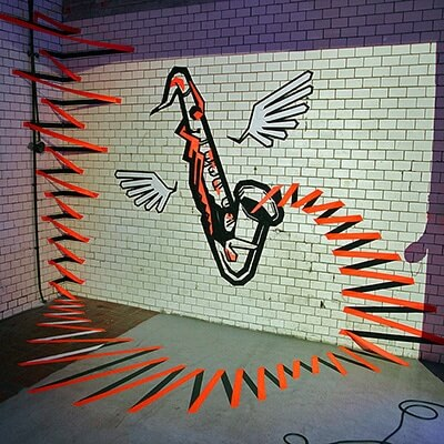 the sound-3d duct tape graffiti by Ostap - featured image
