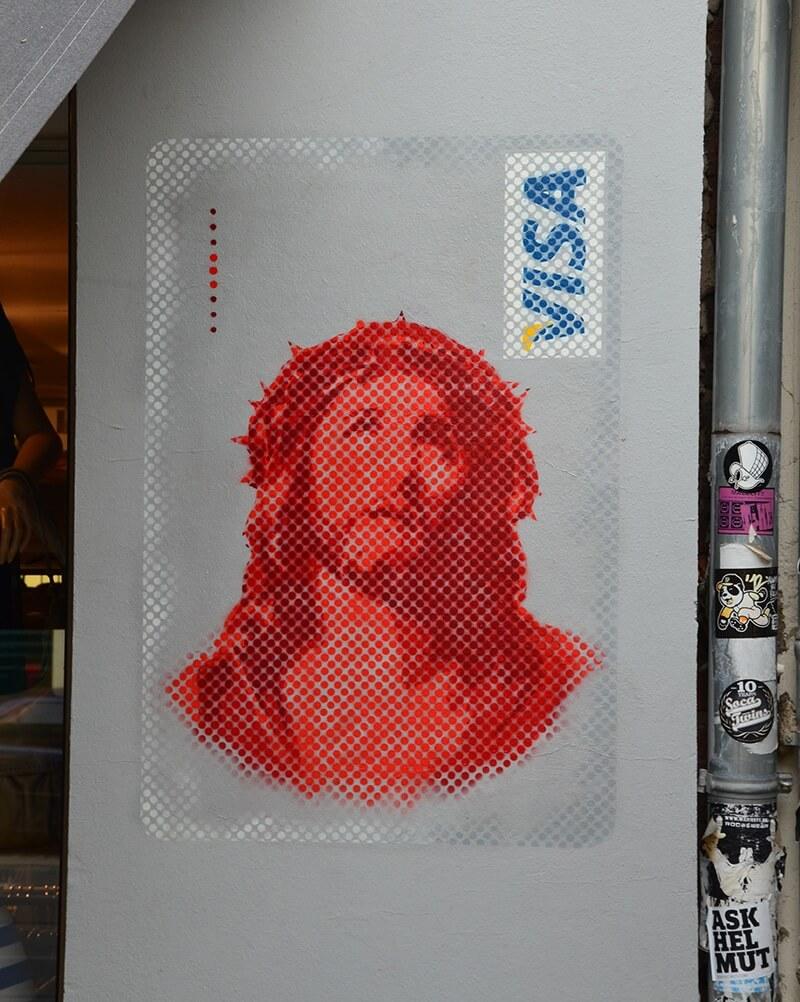 Jesus Visa Card- stencil street art by Ostap- close up
