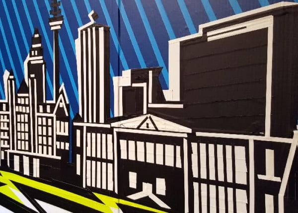 Live tape art event- Leipzig Skyline- Closeup
