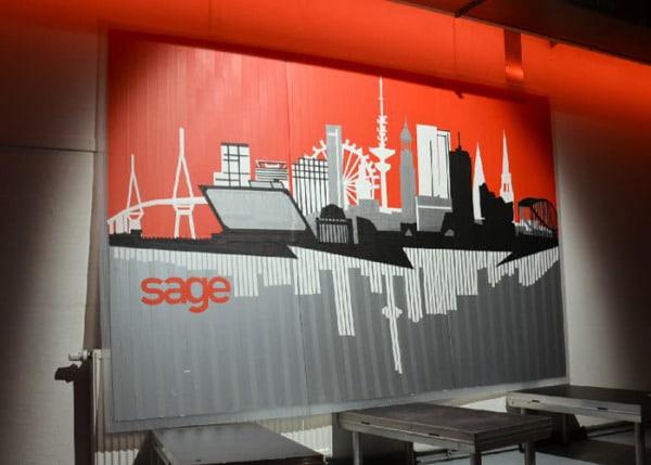 Finished tape art piece- Hamburg Skyline- Live Painting Show Tour 2016