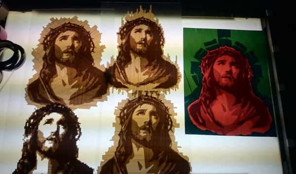 The birth of 9 packing tape art Jesus portraits