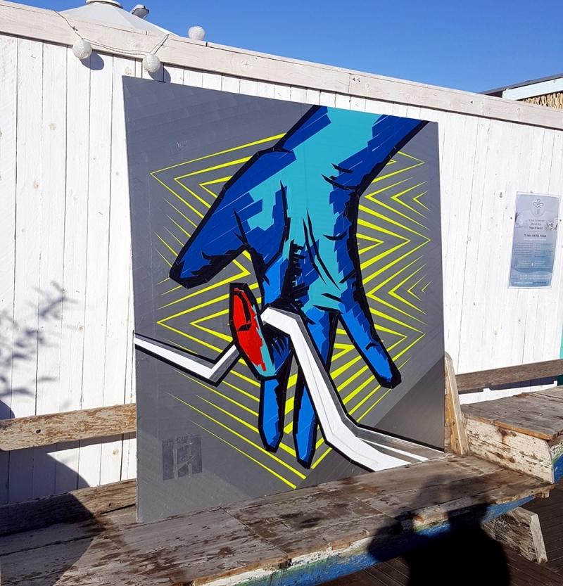 Bild 01- Die Hand-Selfmadecrew Logo- Tape Art Yard 5-Street Art Festival- Berlin 2016
