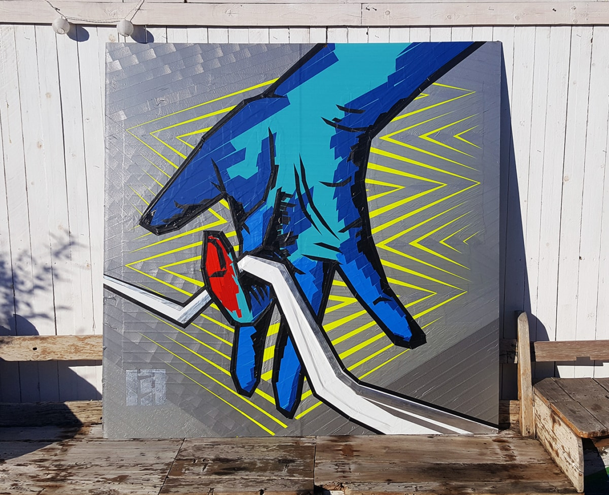 Finished painting out of duct tape- live Tape Art Show-Selfmadecrew