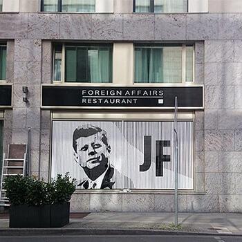 JFK Portrait, 2015, Artwork on the facade of the JFK-Arcotel Berlin made of GAFFA adhesive tape on glass window