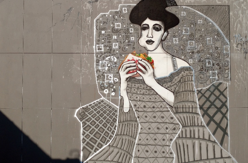 Close-up 2 -Lady in cement- Street art by Selfmadecrew and Ostap- Berlin-Teufelsberg 2016