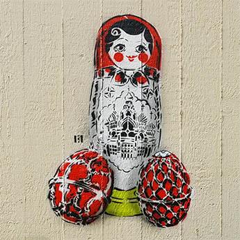 Matryoshka- Stencil Street Art Series- Ostap Artist, 2017