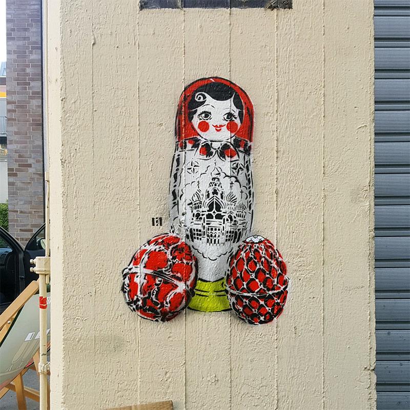 Matroschka-Schablonen Street Art- Ostap für The Haus-2017
