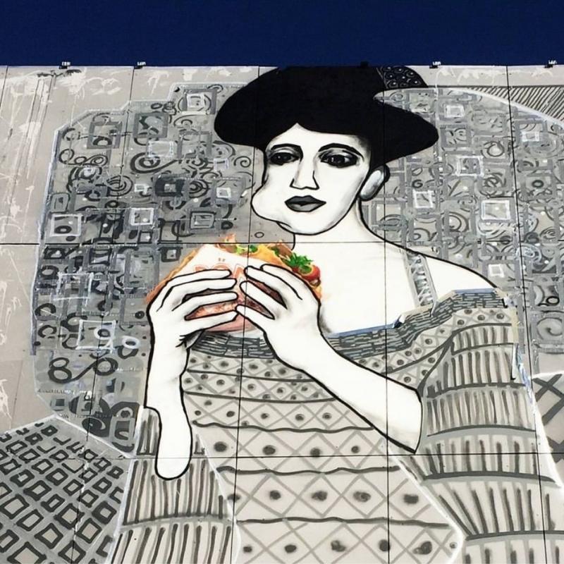 Adele Bloch-Bauer in Berlin- Street-Art-Kunstwerk von