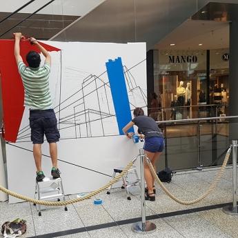Selfmadecrew at work- creating of tape art skyline