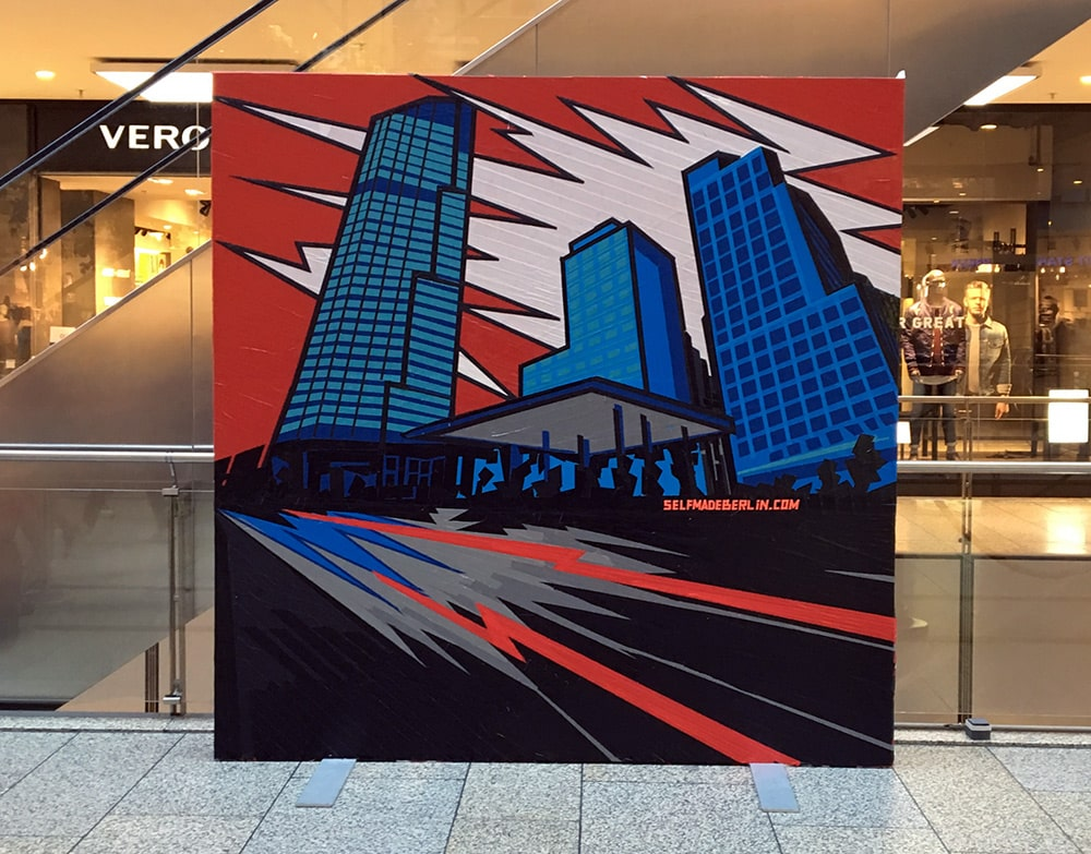 Image 2- Berlin Skyline- artwork created out of duct tape, live by Selfmadecrew