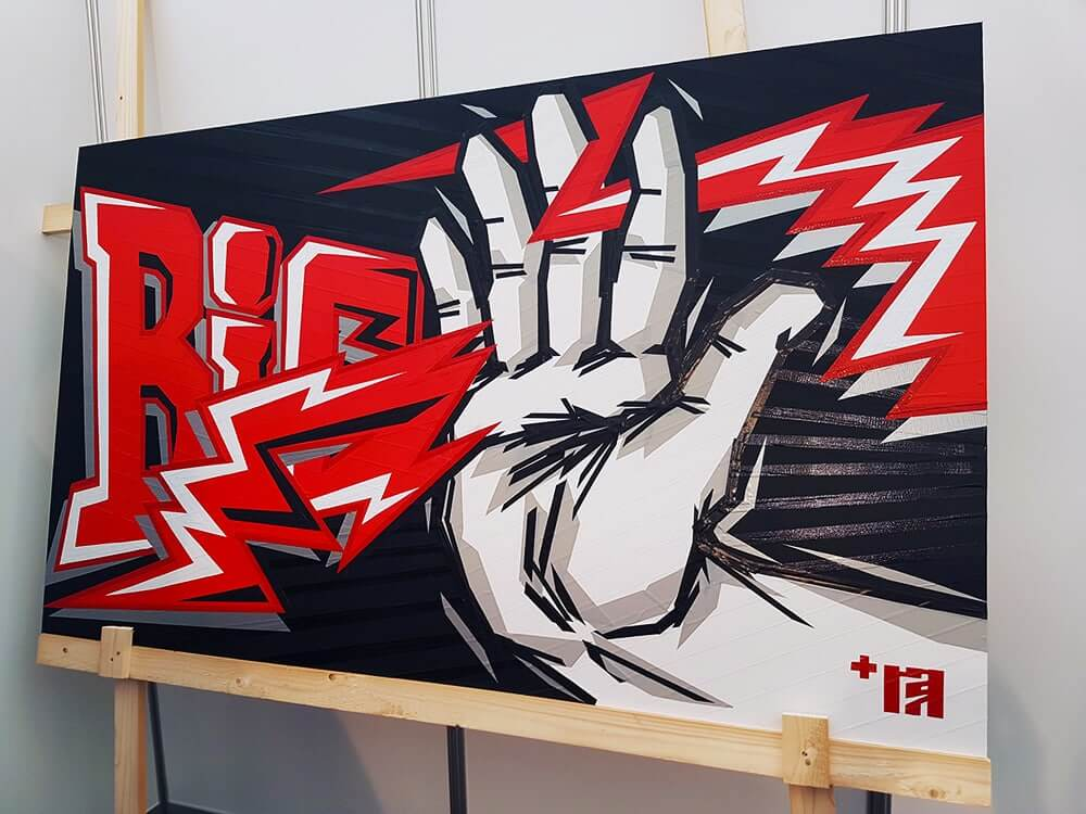 Big five Handshake - finished tape artwork after live taping show- Selfmadecrew 2017