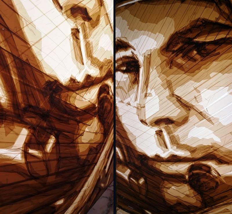 Nahaufnahme-Braunes Paketklebeband-Kunstwerk- ein Kosmonauten Porträt