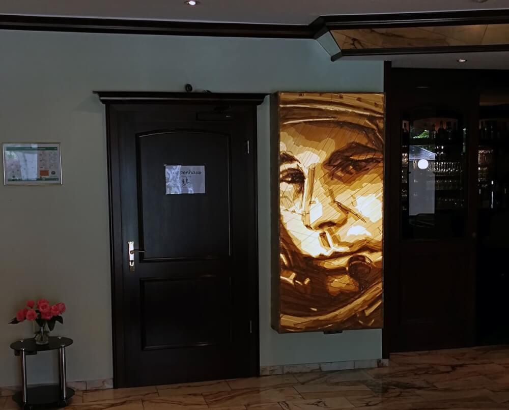 Adhesive scotch-tape art portrait- first cosmonaut-Documenta Kassel 2017