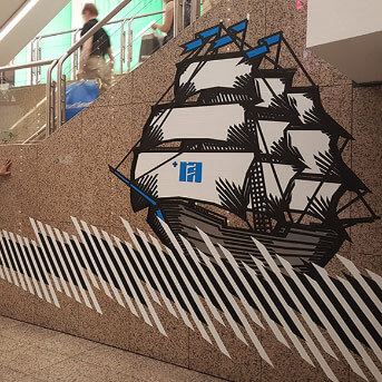 Sailing ship-live tape mural art-featured image