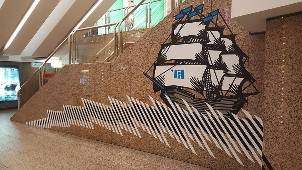 Sailing ship-duct tape mural by Selfmadecrew-Hamburg 2016