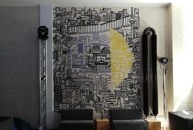 Smart logo-Berlin skyline- duct tape interior design- wall art by Selfmadecrew