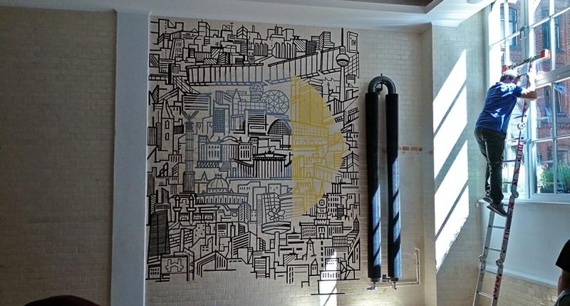 Smart Logo Skyline- Wandmalerei mit Klebeband- Event Location Gestaltung