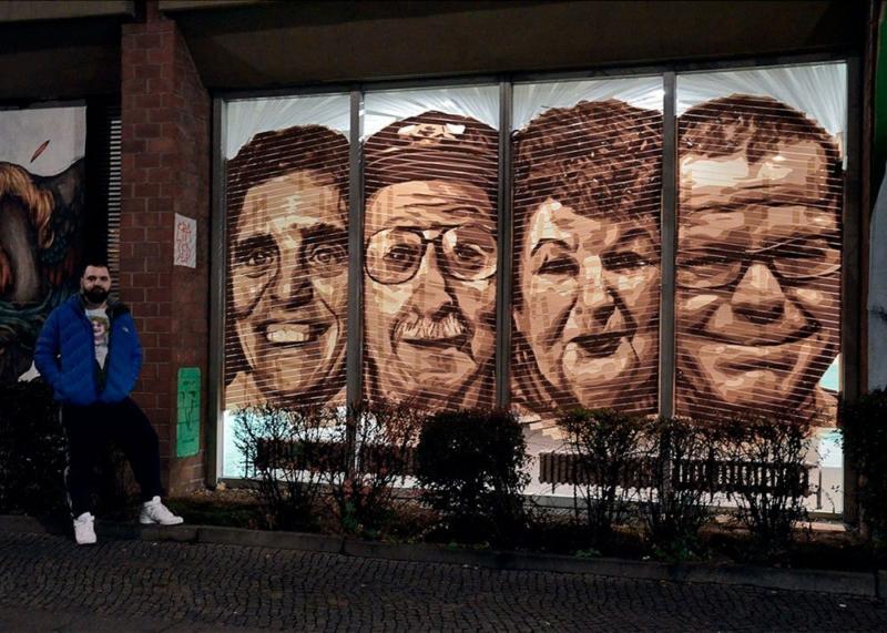 Tape Künstler Ostap und sein StreetArt Werk- Vier Tape Art Porträts in der Bülowstr