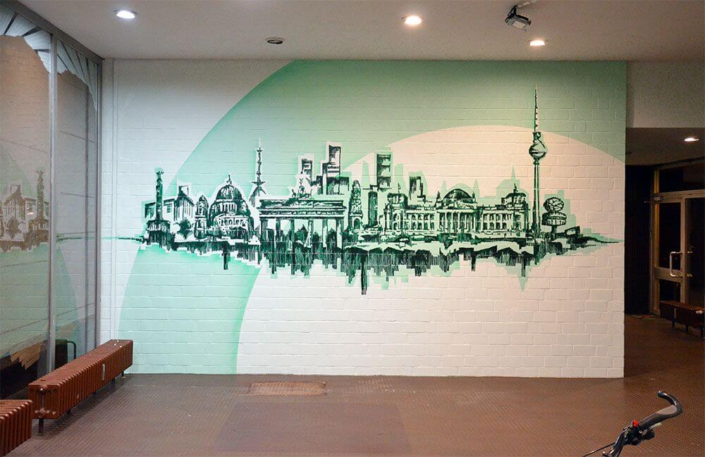 Skyline- Wall Paint Artwork in Foyer- Social Project with Urban Nation