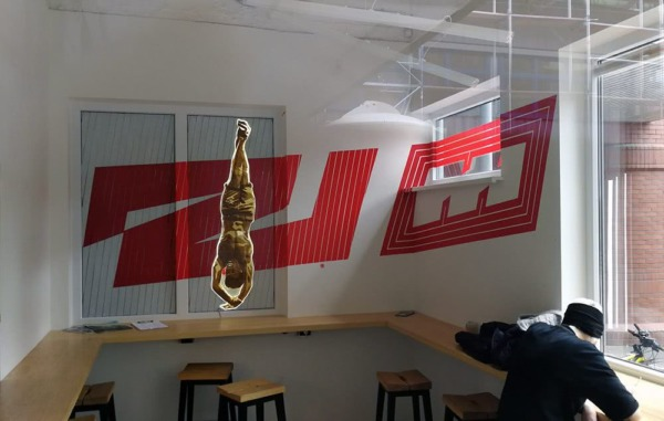 2000 canteen- Flying Steps Academy- adhesive tape art project by Slava Ostap