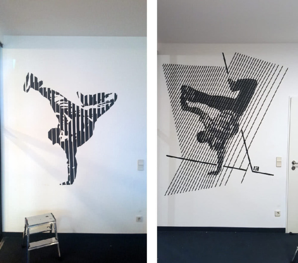 Breakdancers- BBoy- wall art made from duct tape- Slava Ostap